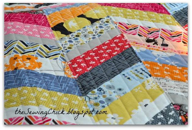 colorful modern quilt from madrona road fabric