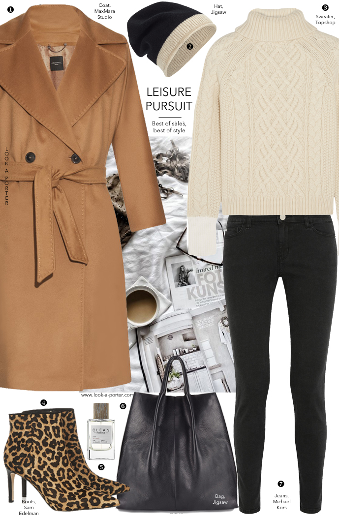 One of my winter uniforms, a casual daywear outfit styled with cosy chunky sweater, camel coat and animal print boots via www.look-a-porter.com