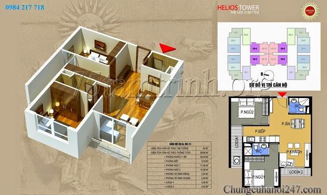 Thiết kế căn hộ CH9-CH11 diện tích 63m2 chung cư Helios Tower 75 Tam Trinh