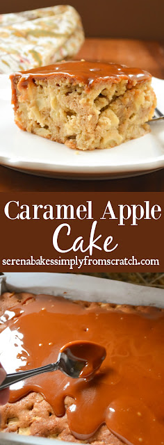 Caramel Apple Cake. Apple cake covered in homemade caramel! So good and recipe includes step by step instructions. serenabakessimplyfromscratch.com