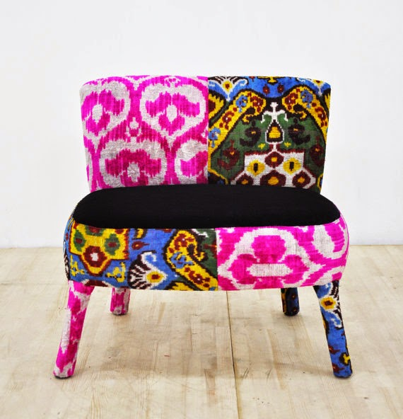 What A Lovely U0026 Colorful Upholstered Armchair In 70u0027s Style. Itu0027s Handmade  With Uzbek Silk Ikat Hand Wowen Fabrics And Blue Velvet Fabric.