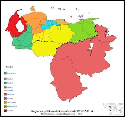 Mapa de las Regiones politico-administrativas de VENEZUELA