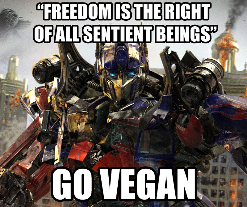 Vegan Memes Optimus Prime Freedom Is The Right Of
