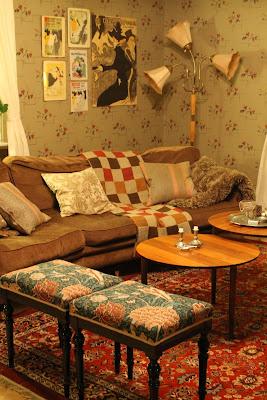 Sal, vardagsrum, soffa, pallar
