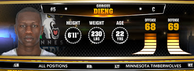 NBA 2K13 T-Wolves Gorgui Dieng - Round 1 21st Overall