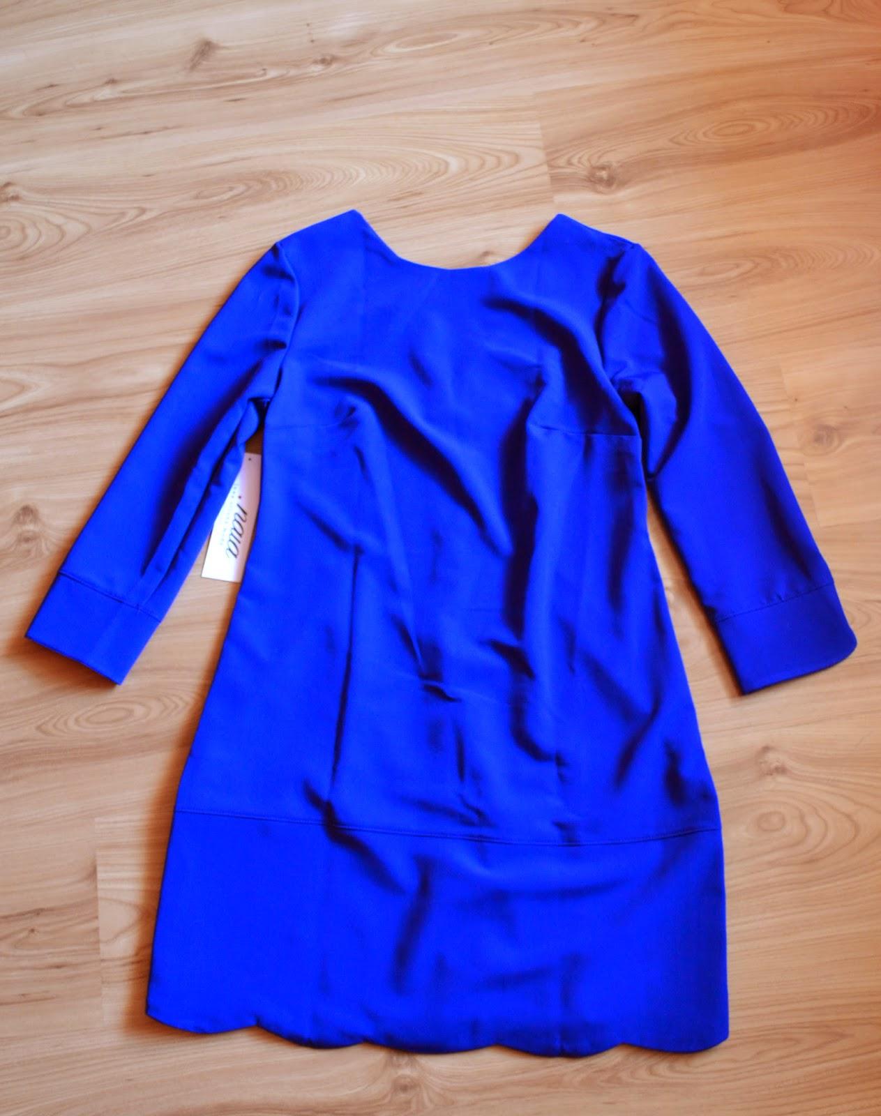 szafirowa sukienka, niebieska sukienka na jesień
