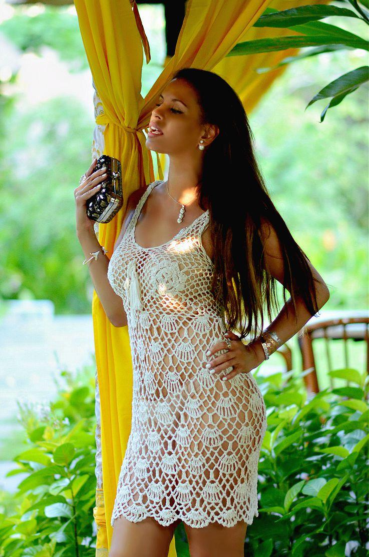Crochet Dress, Myca Couture, Mise En Dior Tribal earrings, Tamara Chloé, TC Style Clues, sexy model, fashionblogger