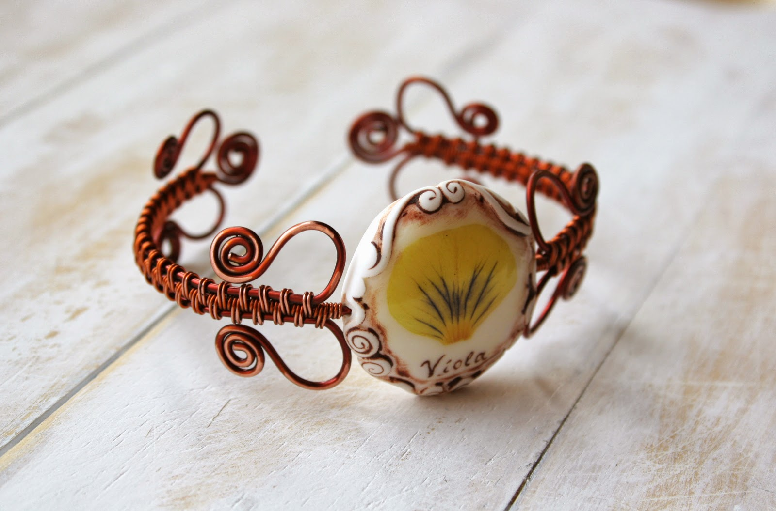Real Flower and Сopper Wire Wrapped Bracelet