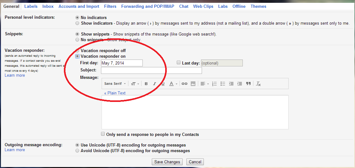 Turning ON Vacation Responder in Gmail http://letmeconnect.blogspot.in/