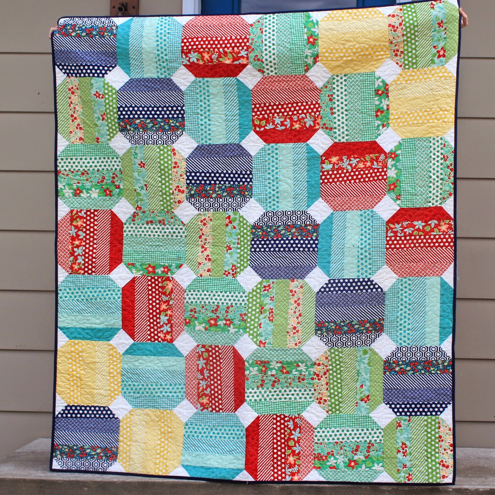 Jelly roll quilt using Moda's April Showers