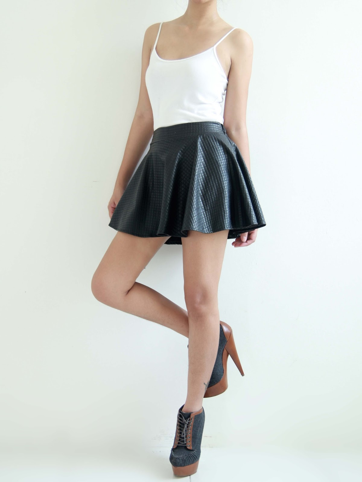 mango orangie topshop inspired leather skater skirt with