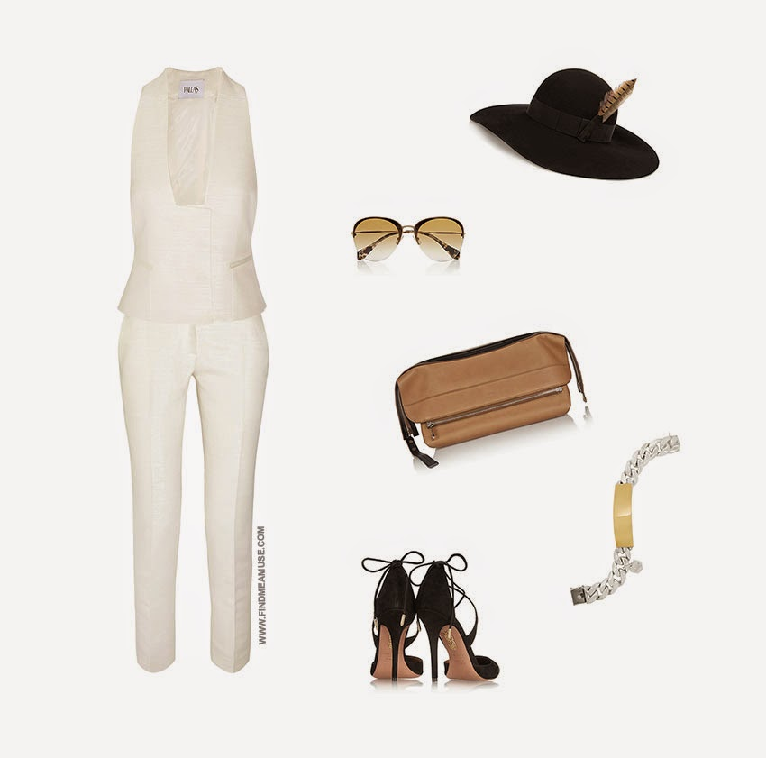 Modern summer suiting outfit set by Mandi from Find Me A Muse Fashion Blog featuring Pallas vest and pants Miu Miu sunglasses Chloe Bag Saint Laurent hat Aquazzurra heels and Ann Dexter-Jone ID bracelet