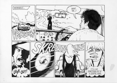 Click to Enlarge. Image of a comic strip with highly visual text for a car racing and screeching to a stop.