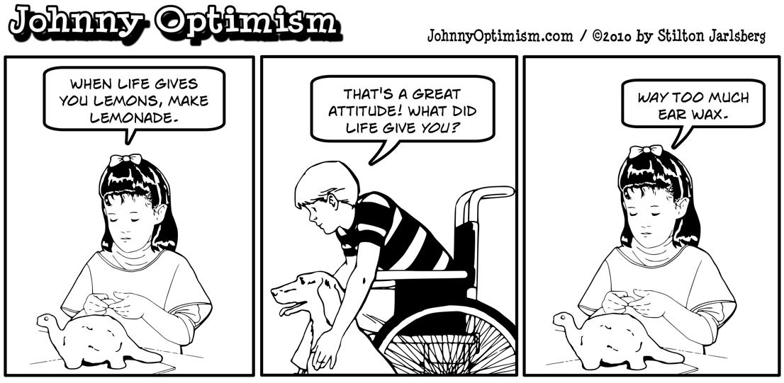 Johnny Optimism, johnnyoptimism, dino girl, ear wax, medical humor, stilton jarlsberg
