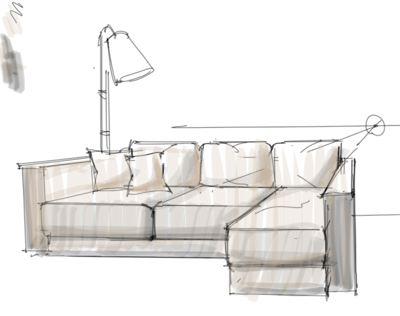 Interior design rendering working on a sofa design with a for Sofa design sketch