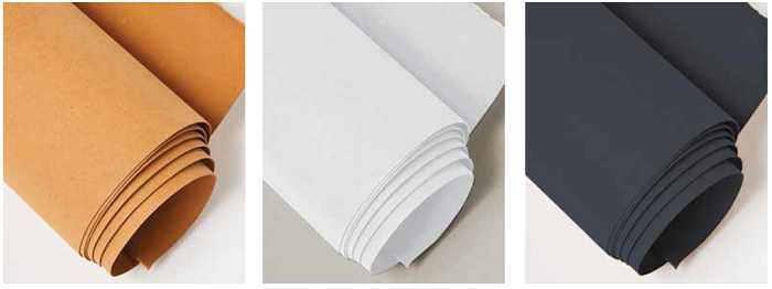 Kraft-tex Paper Fabric in three colors, natural, white and black