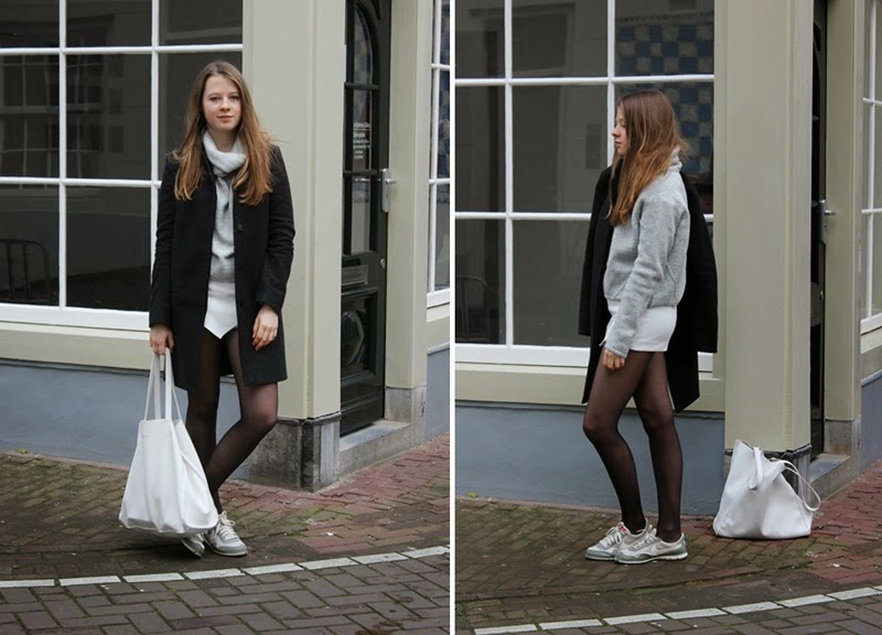 ootd, outfit, fashion, blogger, fashion blogger, outfit of the day, turtleneck, new look, knitted, grey, white, simple, monochrome, trend, trendy, fashionable, skort, nike, sneakers, trainers, cos, coat, autumn, fall, winter, amsterdam