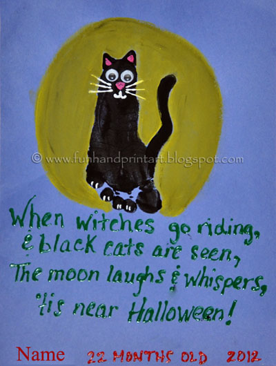 Footprint Black Cat &amp; Cute Halloween Poem