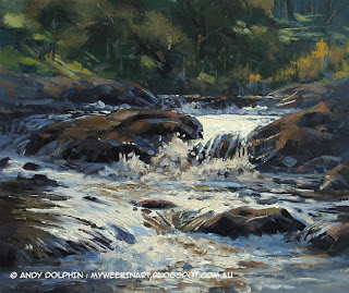 River rapids plein air paintring in oil by Andy Dolphin