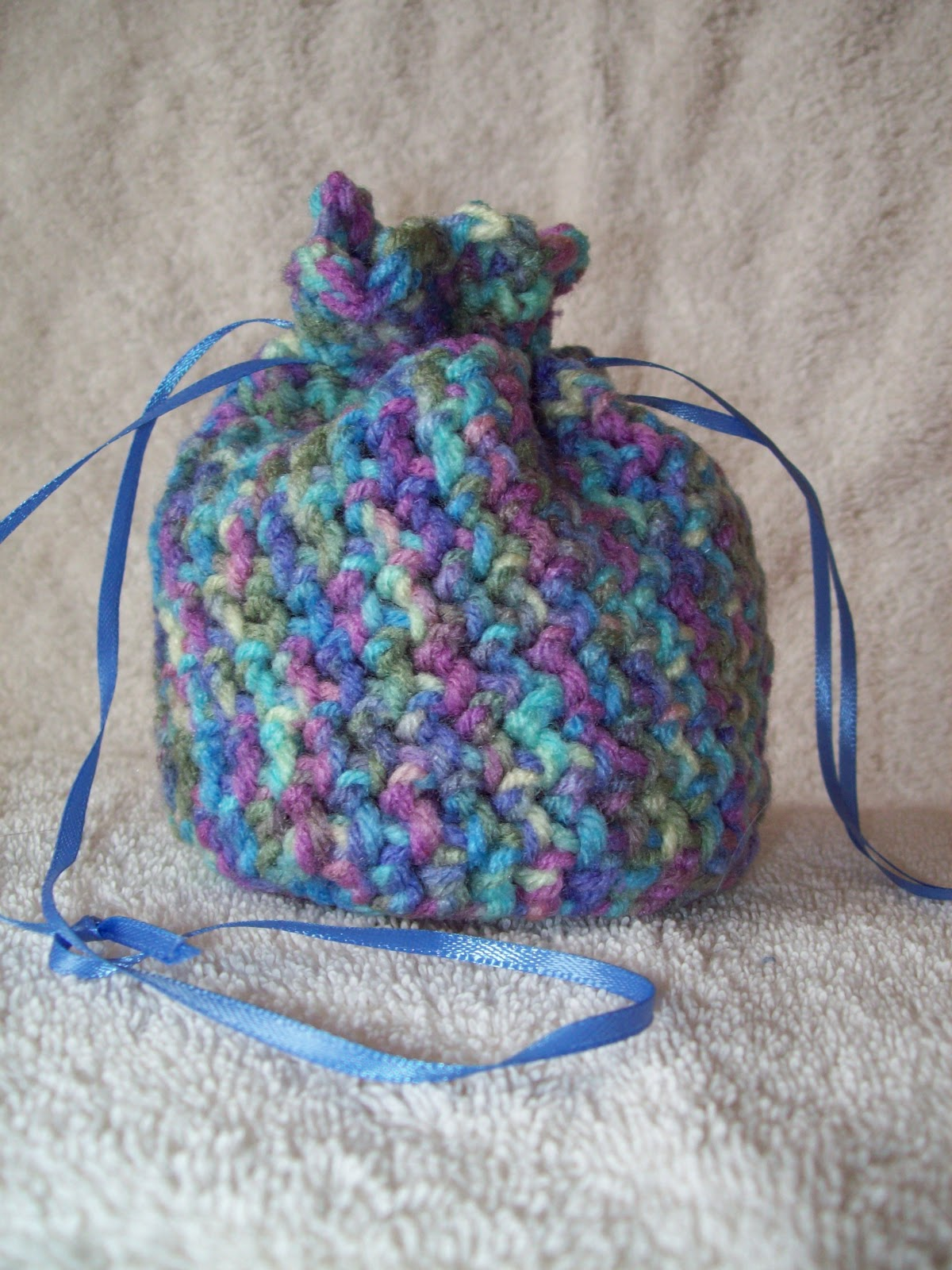 Stitchin\' the Night Away: Crochet Mini Drawstring Bag
