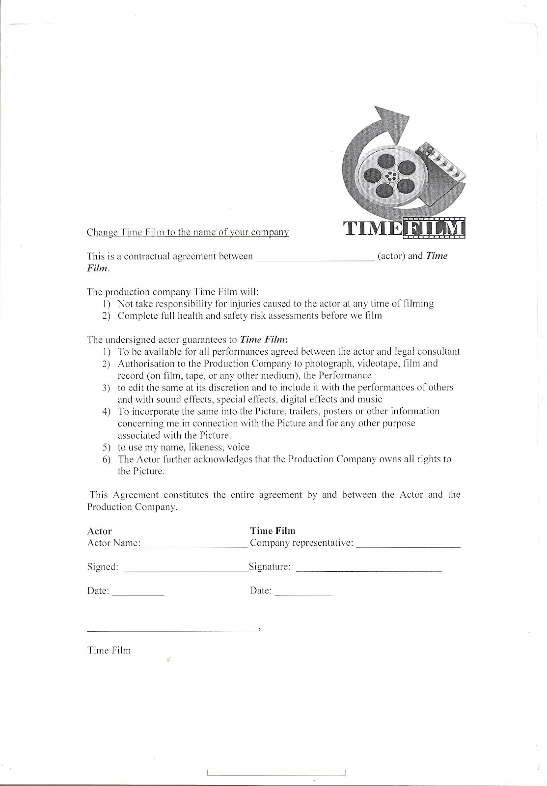 acting contract template - a2 media production actors film contract