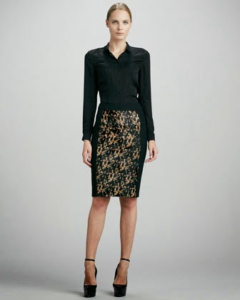 silk blouse and pencil skirt dress design ideas