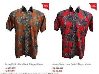 Hem batik pria murah keren harga 89 ribu