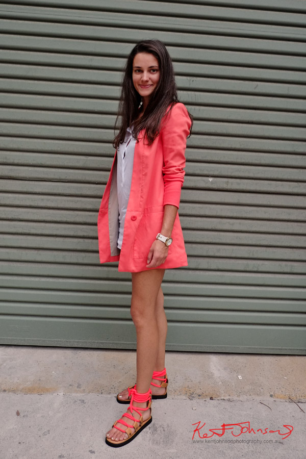 Sydney Style, Pastel red jacket and matching rope sandals, white button front tee shirt and matching watch.