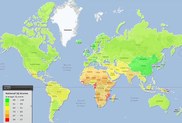 Os países onde há mais pessoas inteligentes e menos inteligentes