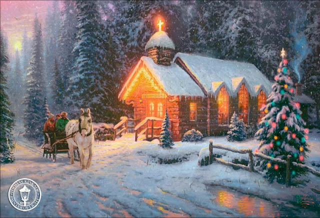 christmas chapel one art thomas gallery holiday painting