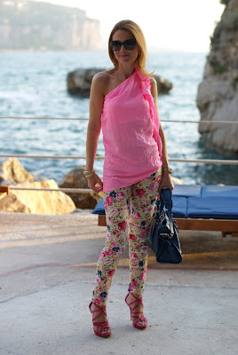 floral pants, one shoulder top