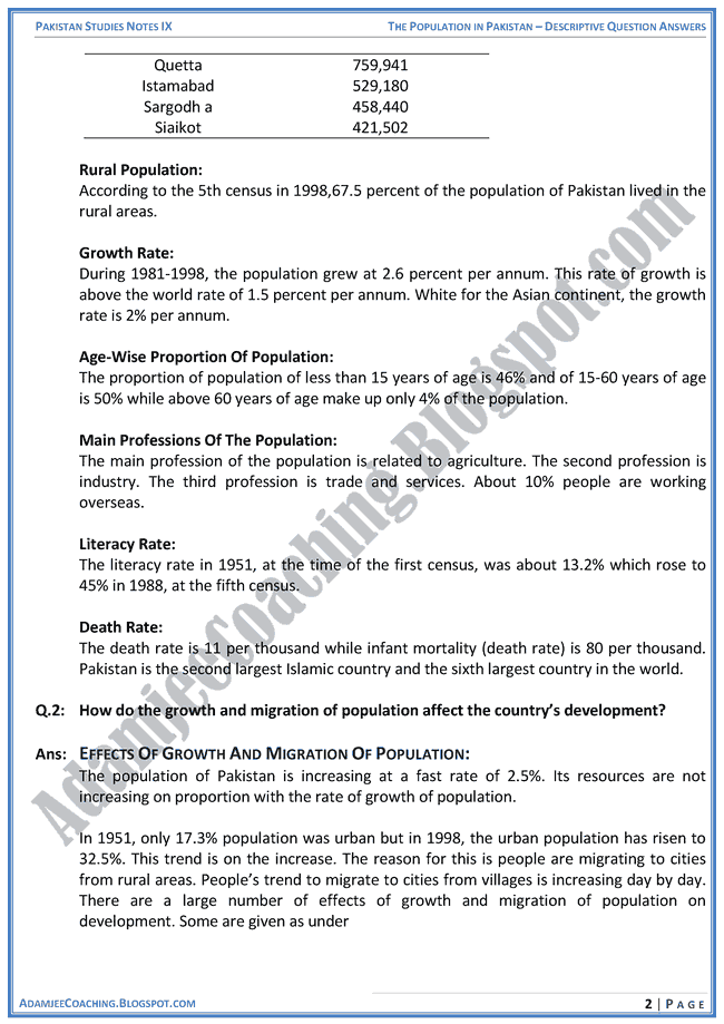 the-population-in-pakistan-descriptive-question-answers-pakistan-studies-ix
