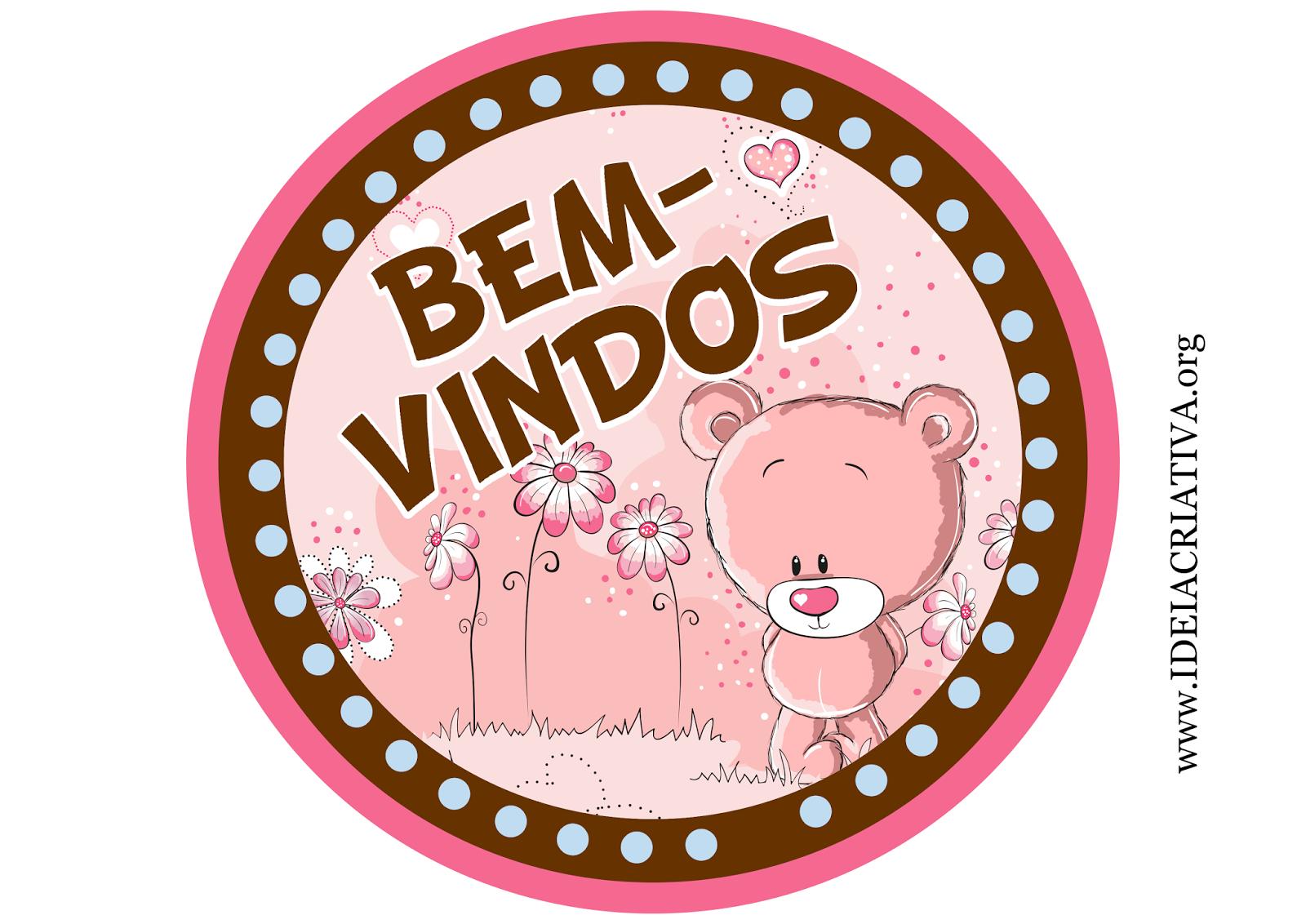 Placa para Porta Tema Ursinho rosa e Marrom