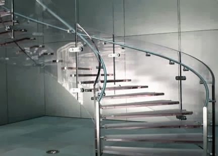 glass stairs with steel handrails