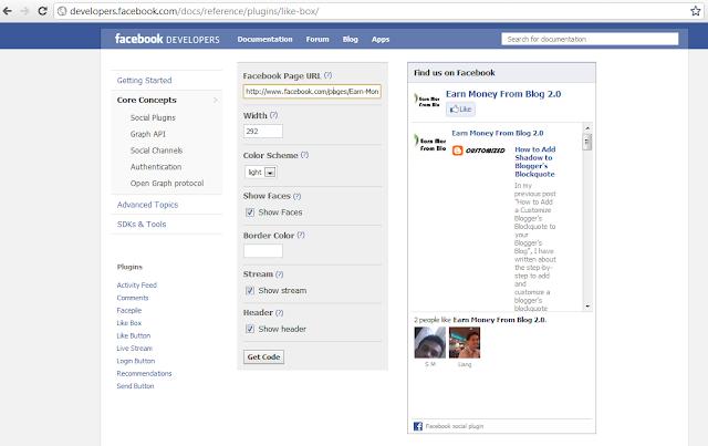 Create Facebook Like Box