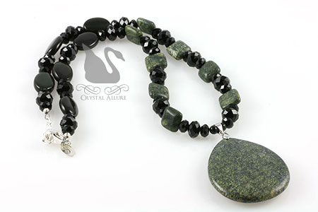 Green Moss Jasper Gemstone Beaded Necklace (N058)