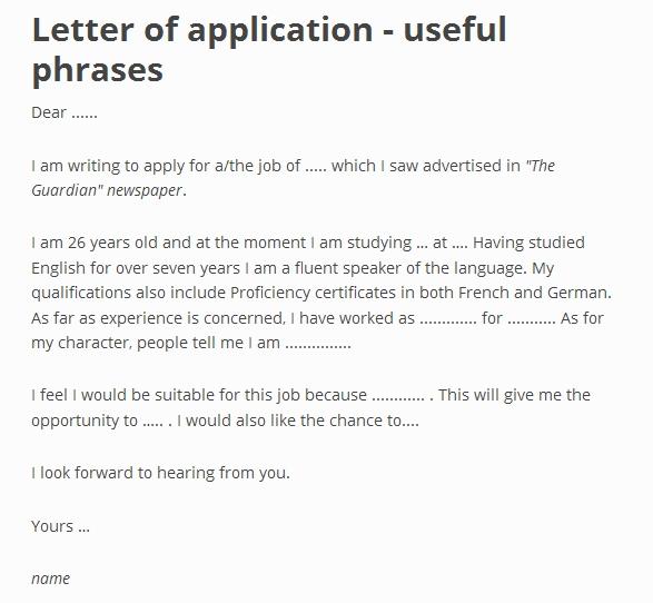 Job Application Letter Sample Ielts