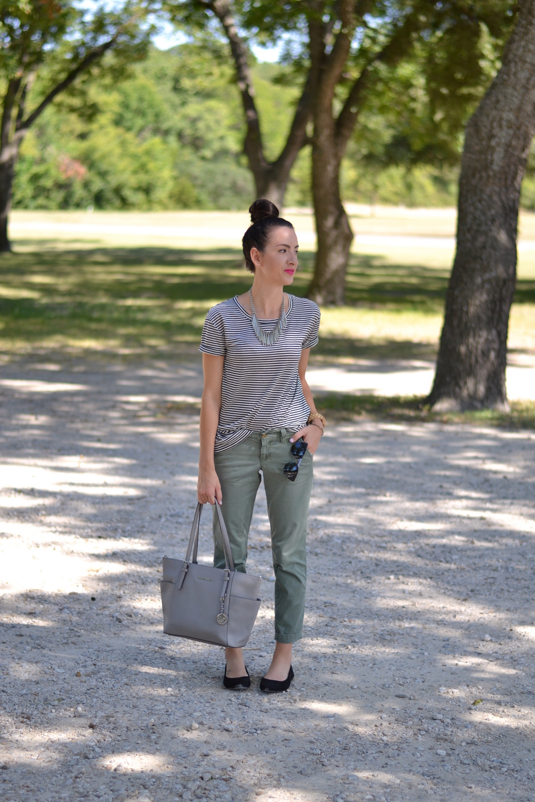 Casual Summer Look with Striped Tee and Top Knot