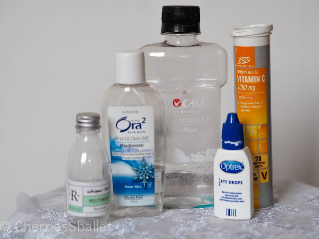 R Whisper Mint Mouthwash in Spearmint, Sunstar Ora2 Breath & Stain Care Mouthwash in Snow-Mint, ProCare Mouthwash in Cool Mint,  Optrex Eye Drops, Boots Vitamin C