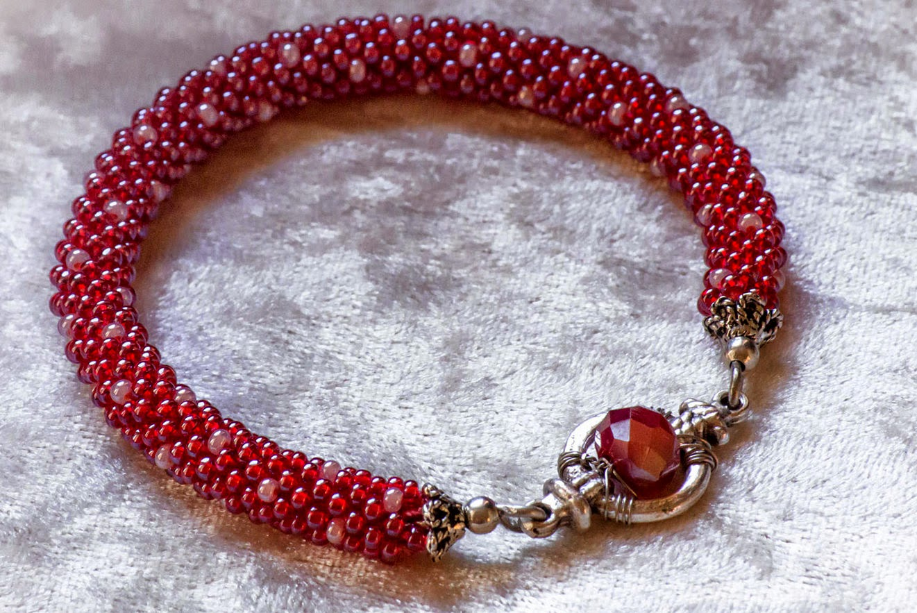 crochet seed beads rope red pink dots crystals bracelet