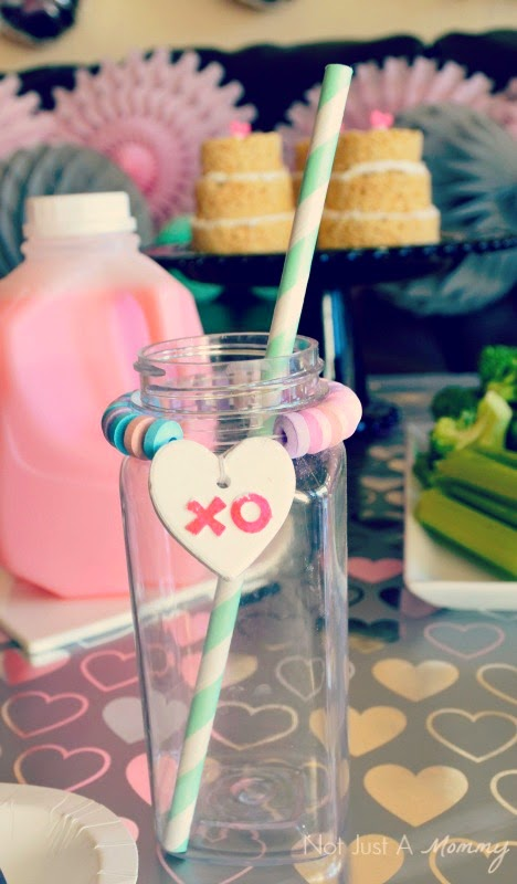 RAWR Means XOXO In Dinosaur Valentine's Day Party bottles