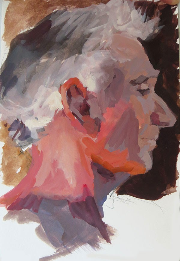 Portrait sketch, Bill in profile, gouache in watercolour Moleskine, Shannon Reynolds