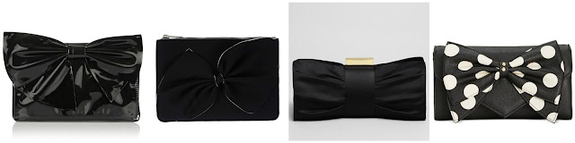 One of these black bow bags is from Valentino for $547.25 (regular $995.00) and the other three are under $115. Can you guess which one is the Valentino clutch? Click the links below to see if you are correct!