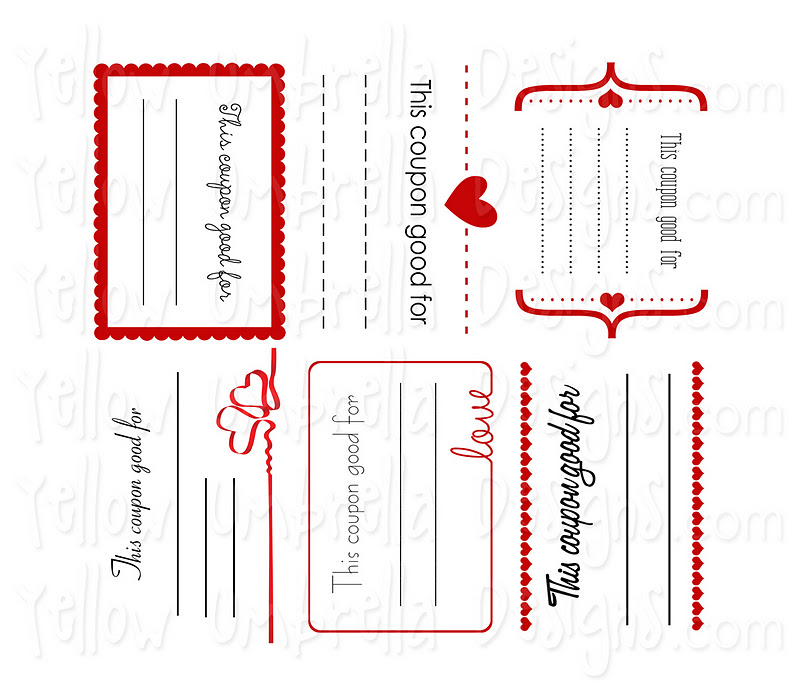 Free printable template for love coupons : Gaia freebies links