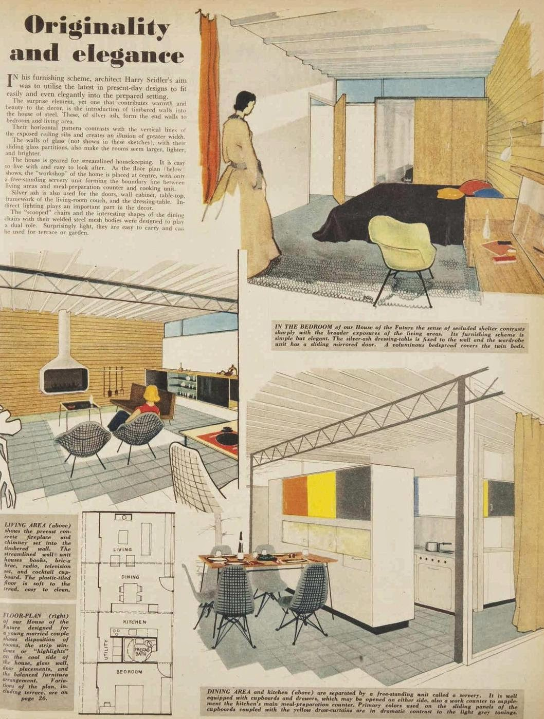 Interior drawings for Siedler's 'house of the future'