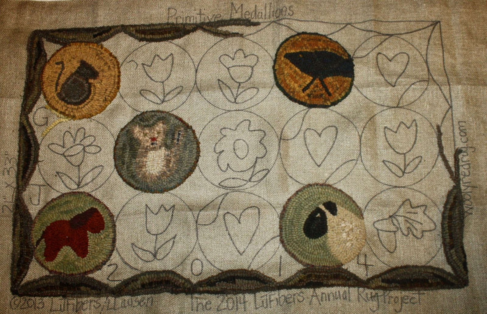 I Ordered This Project In The Beginning Of 2014 From LJ Fibers At The Wooly  Red Rug It Is One Of Her Annual Hooked Rug Kits. Primitive Medallions Is  Quickly ...