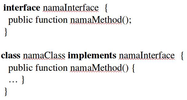 menggunakan interface dan implements