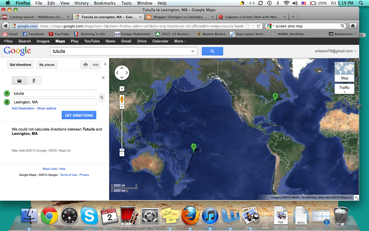 google maps could not calculate directions between tutuila and my home
