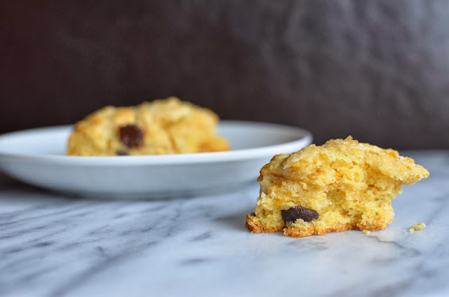 ... flaky, sweet biscuit - full of orange flavor and dark chocolate chips