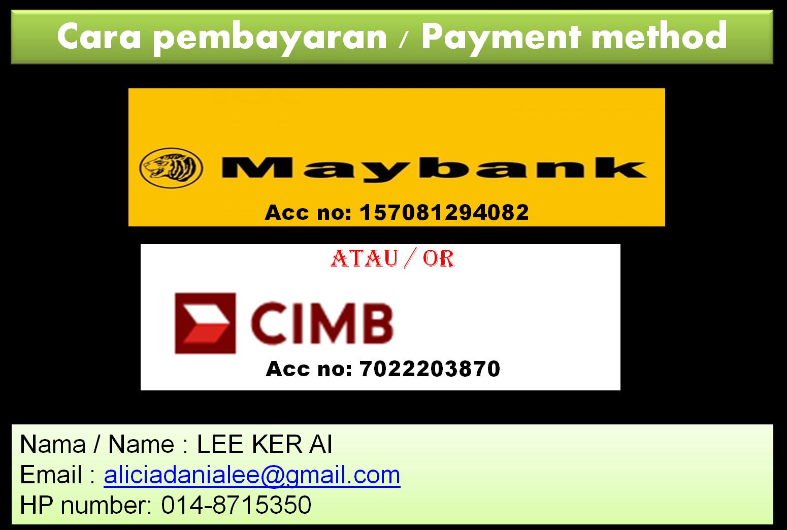 Cara Pembayaran / Payment method